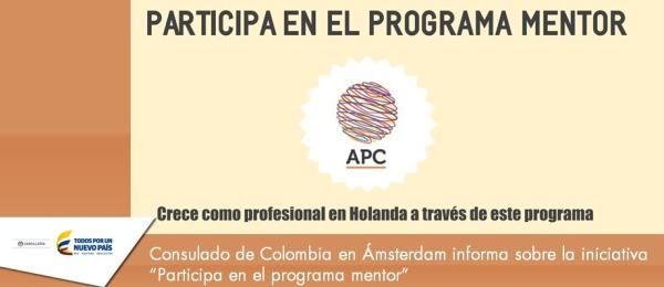 """Consulado de Colombia en Ámsterdam informa sobre la iniciativa """"Participa en el programa mentor"""""""