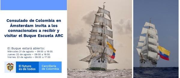 Consulado de Colombia en Ámsterdam invita a los connacionales a recibir y visitar el Buque Escuela ARC