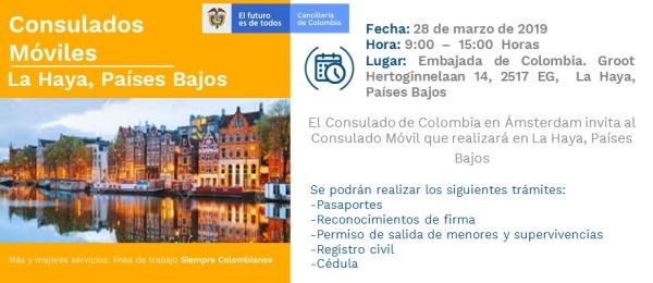 Consulado de Colombia en Ámsterdam llevará a cabo su primer Consulado Móvil en la ciudad de La Haya, Países Bajos el 28 de marzo