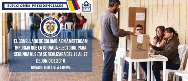 Consulado de Colombia en Ámsterdam informa que la jornada electoral para segunda vuelta se realizará del 11 al 17 de junio de 2018