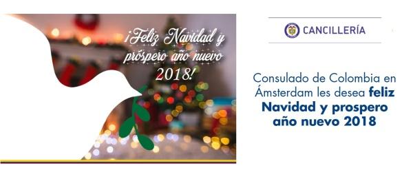 Consulado de Colombia en Ámsterdam les desea feliz Navidad y prospero año nuevo 2018